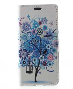 Huawei Honor 8 Lite Leather Folio Case, Blue Tree.