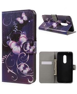 ZTE Axon 7 Wallet Cover Suojakotelo, Purple Butterflies.