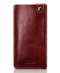 ICARER 5.5 inch Universal Leather Pouch, Wine Red.