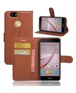 Huawei Nova Litchi Grain Leather Case, Musta.
