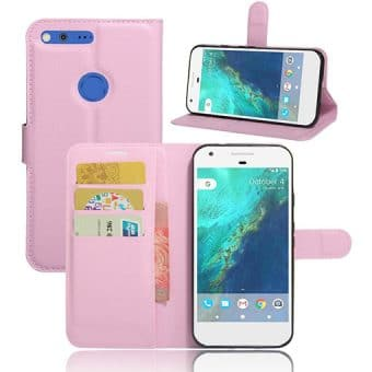 Google Pixel XL Magnetic Leather Wallet Case, Pink.