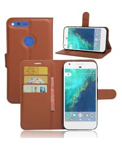 Google Pixel XL Magnetic Leather Wallet Case, Ruskea.