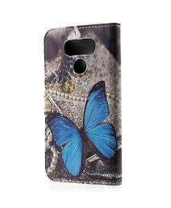 LG G6 Pattern Printing Wallet Case, Blue Butterfly
