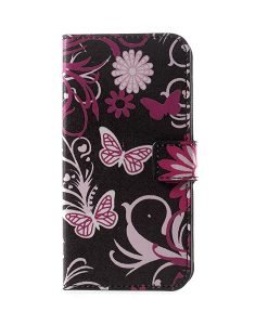 LG G6 Pattern Printing Wallet Case, Black Butterfly