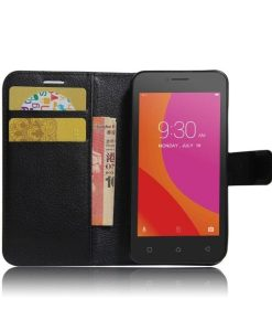 Lenovo A Plus Wallet Leather Case, Musta.