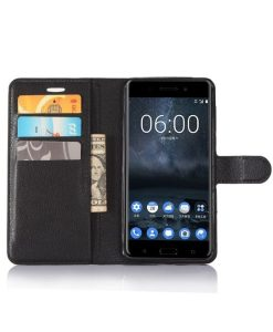 Nokia 6 Wallet Leather Case, Musta.