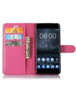 Nokia 6 Wallet Leather Case, Rose.