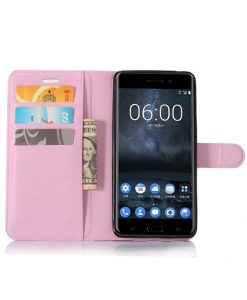 Nokia 6 Wallet Leather Case, Pink.