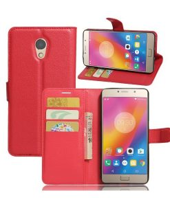 Lenovo P2 Wallet Leather Case, Punainen.