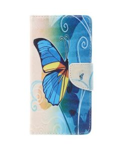 Lenovo P2 Pattern Printing Wallet Case, Blue Butterfly.