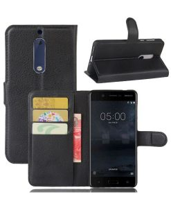 Nokia 5 Wallet Leather Case, Musta.