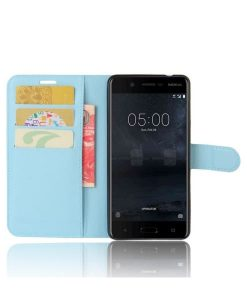 Nokia 5 Wallet Leather Case, Sininen.
