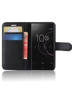 Sony Xperia XZ1 Compact Wallet Leather Case, Musta.