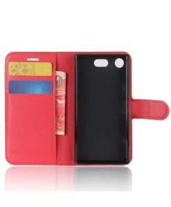 Sony Xperia XZ1 Compact Wallet Leather Case, Punainen.