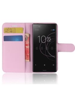 Sony Xperia XZ1 Compact Wallet Leather Case, Pink.