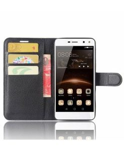 Huawei Y6 (2017) Wallet Leather Case, Musta.