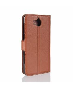 Huawei Y6 (2017) Wallet Leather Case, Ruskea.