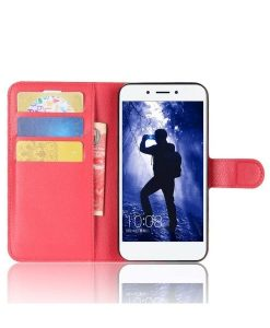 Huawei Honor 6A Wallet Leather Case, Punainen.