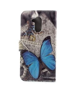 Huawei Honor 6A Printing Wallet Case, Blue Butterfly.